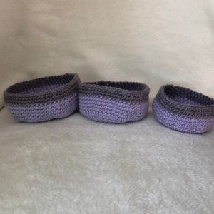 NWT Set of 3 stackable hand crocheted baskets